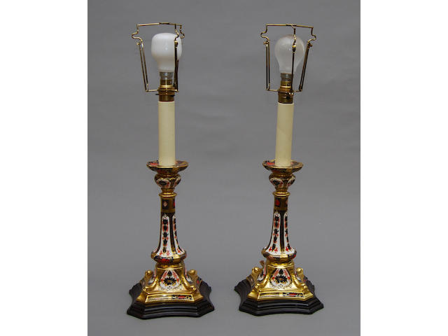 A pair of Royal Doulton Imari 'candlestick' table lamps