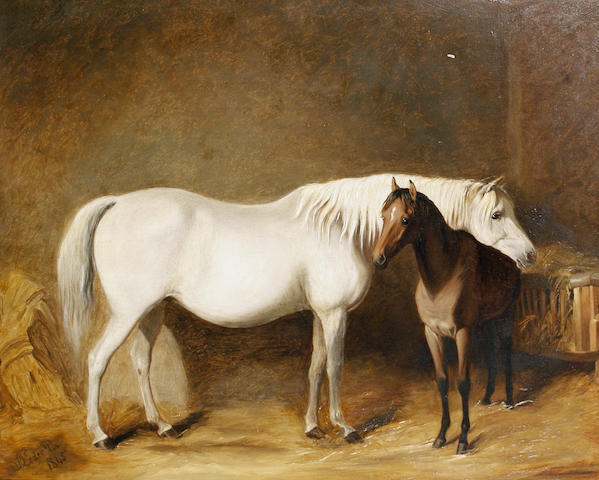 James Loder Of Bath (British, 1784-1860) Horse and foal in a stable