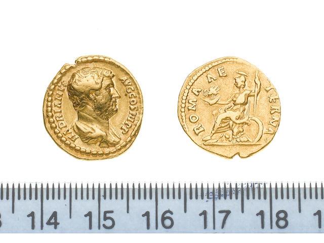 Hadrian, AD 117-138, Gold aureus of Hadrian minted in Rome AD 137, 7.2g, HADRIANUSAUGCOSIIIPP, bare head right,