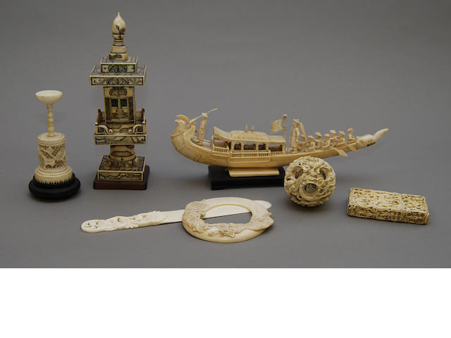 A collection of mainly Canton ivory items