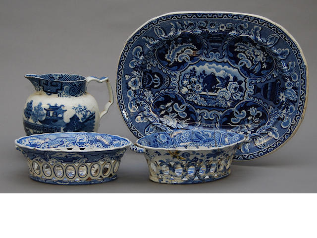 A collection of British blue printed pottery