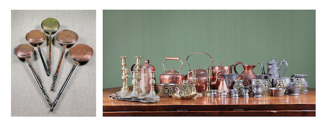 A large quantity of brass, copper and pewter items