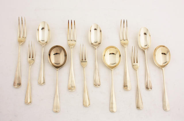 A silver matched flatware service of rat tail pattern, comprising; six table forks, six soup spoons, six dessert spoons and six dessert forks.