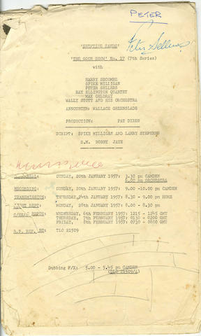 Peter Sellers' script for 'The Goon Show' episode entitled 'Shifting Sands', 1957,