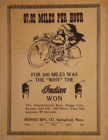 An Indian Motorcycles 'Winners' poster, 20th century,