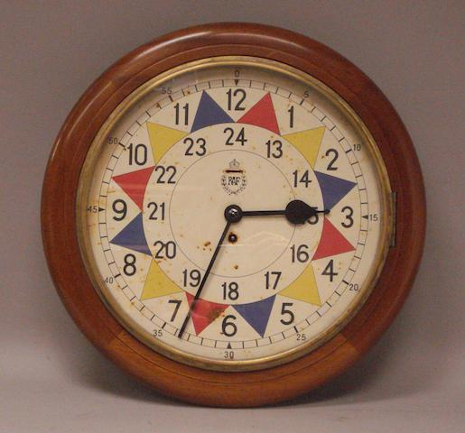 An original RAF operations room sector clock, Smiths, 1942,
