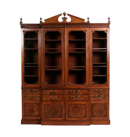 A large early 20th century George III style mahogany breakfront secretaire bookcase