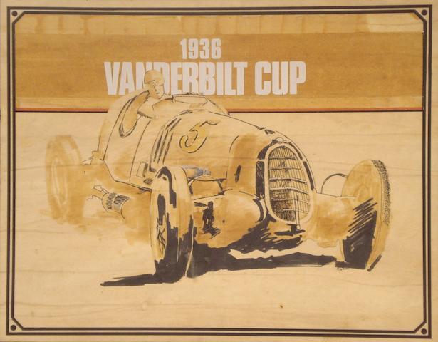 M.G.Truman, The 1936 Vanderbilt Cup, original poster artwork,