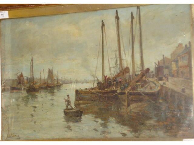 John William Gilroy (British, Newcastle Upon Tyne 1868-1944 Whitley Bay, Northumbria) 'Fish Quay, North Shields',
