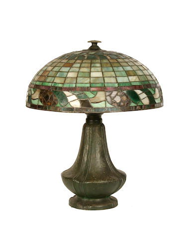 A bronzed metal and coloured glass Tiffany style lamp base