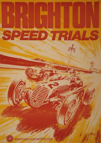 An original Brighton Speed Trials advertising poster,