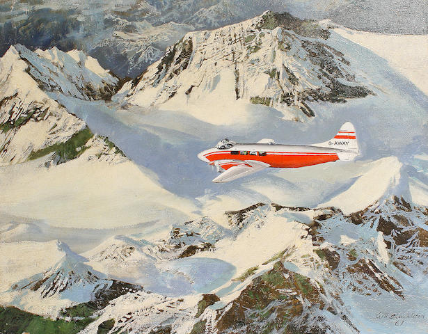 Keith Hope Shackleton (British, born 1923) Aeroplane over snow capped mountains