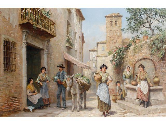 Arthur Trevor Haddon (British, 1864-1941) Figures by an Italian fountain
