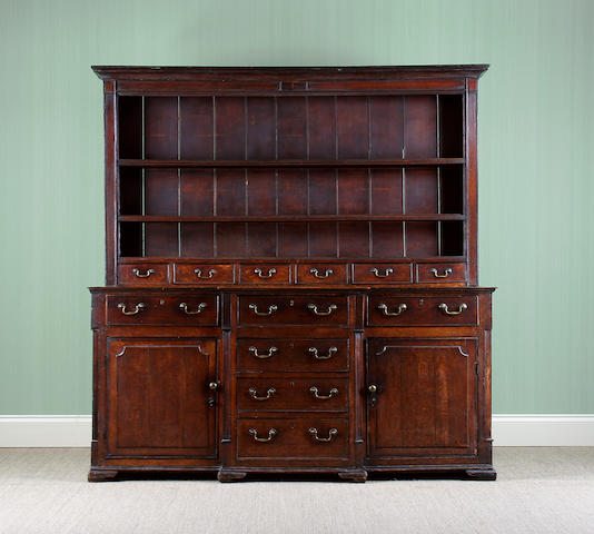 An 18th Century oak high dresser