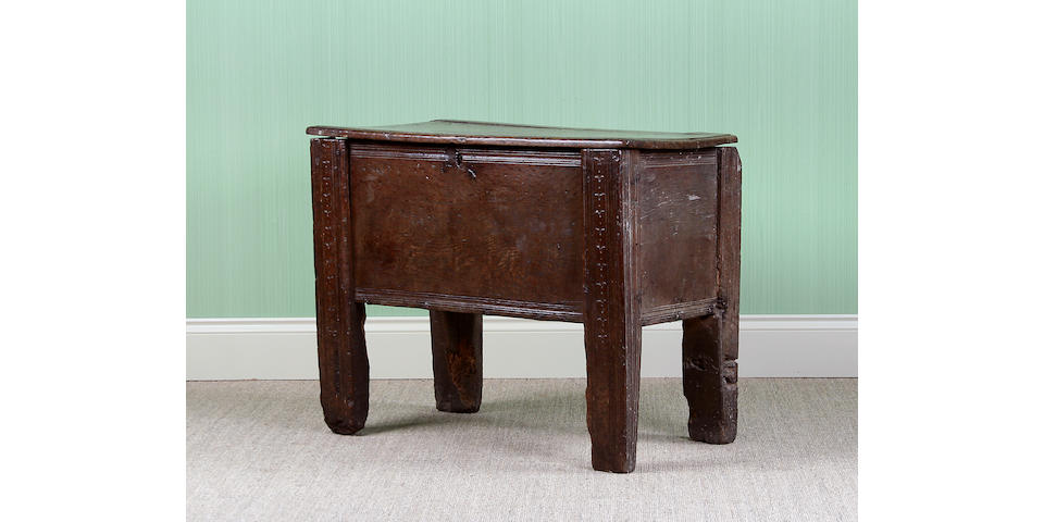 A rare 16th Century oak 'clamp-front' chest, Welsh