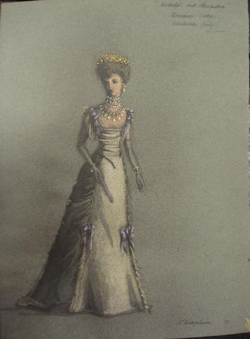 A collection of Nicholas and Alexandra related costume designs, including eight costume designs by S. Kirkpatrick,