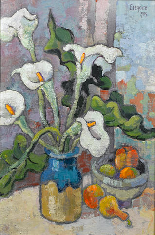 Gregoire Johannes Boonzaier (South African, 1909-2005) A still life of Anthuriums