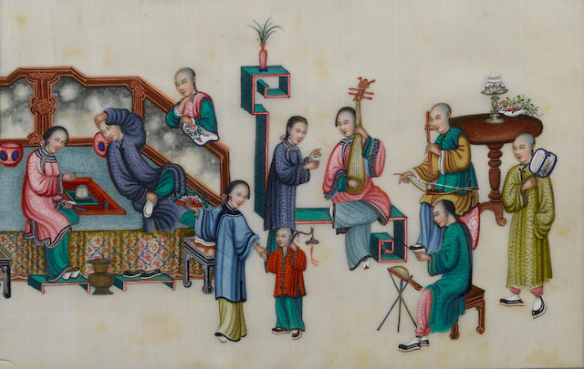 Chinese School The decline of an opium smoker, a set of 12 22 x 33cm (8 11/16 x 13in) each