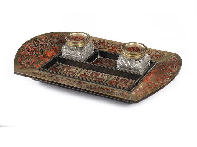 A Regency ebony, scarlet tortoiseshell and brass marquetry Desk Set attributed to George Bullock