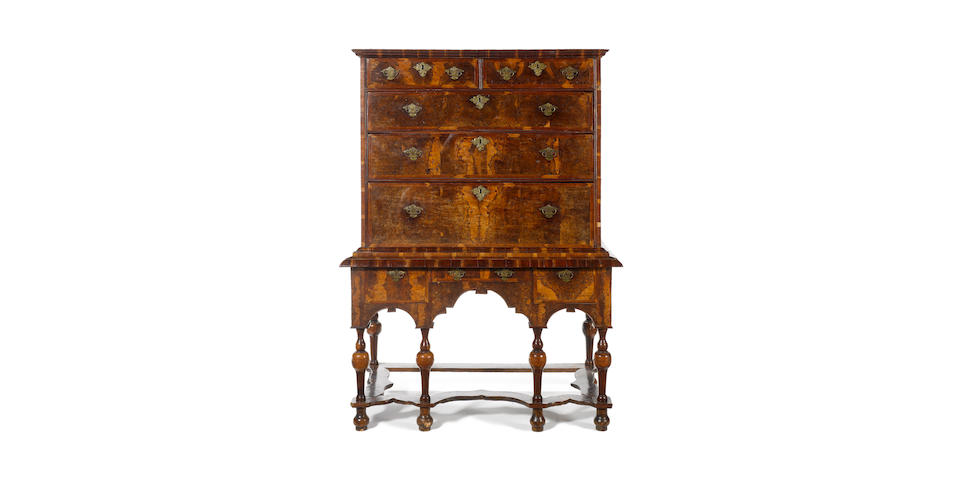 A William and Mary stained burr elm? and plumwood? banded Chest on Stand