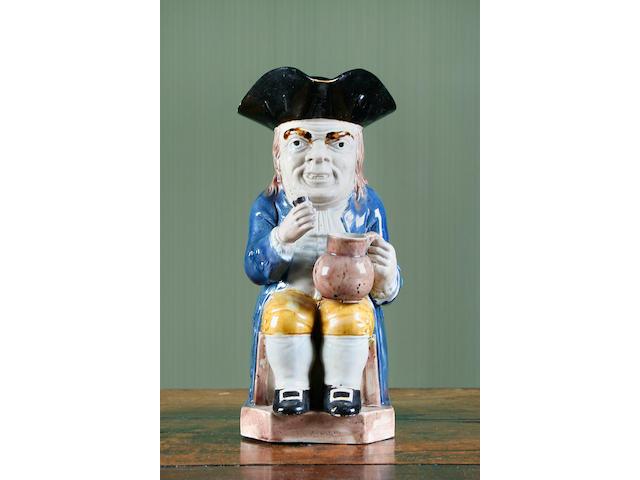 A rare Staffordshire 'Long Face' Toby jug, circa 1785
