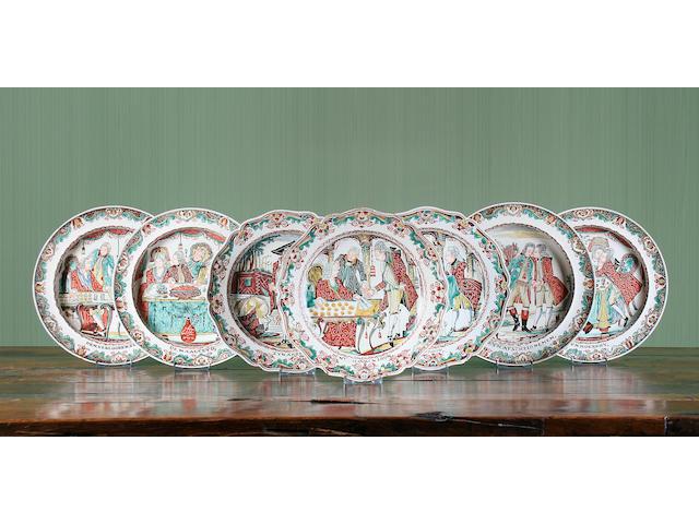 Seven Staffordshire creamware plates Circa 1780-1800.