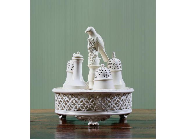 A creamware pierced cruet stand Circa 1780-90