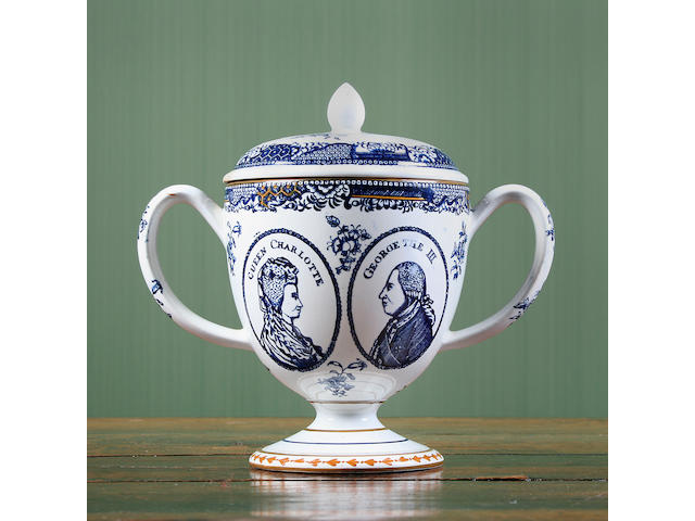 A Pearlware Queen Charlotte and George III twin handled cup and cover Circa 1809-10