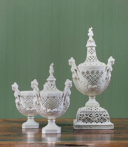 A garniture of three Leeds creamware vases Circa 1790