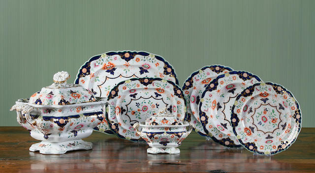 An extensive English Ironstone dinner service, probably Hicks, Meigh & Johnson  Circa 1830