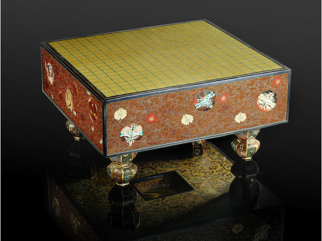 An extremely rare and fine cloisonné enamel model of a traditional go-ban (games board) By Honda Kozaburo of Nagoya, Meiji Period
