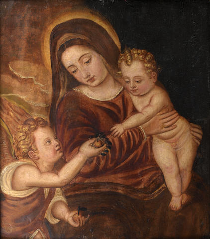 Venetian School, 17th Century The Madonna and Child with an angel