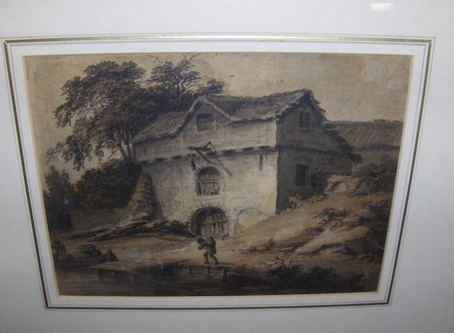 Joseph Barber (British, 1757-1811) Figure before a riverside cottage