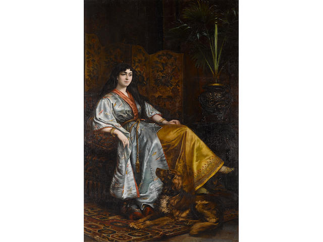 Continental School, 19th Century Portrait of a lady in an oriental robe, seated with her dog