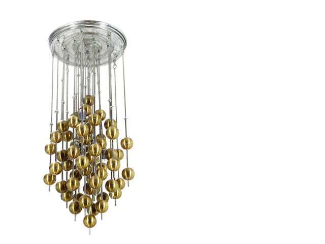 Verner Panton for J. Lüber, a 'Ball' chandelier,  designed 1970 formed from a series of gilt cellidor and chromed metal balls suspended from steel rods