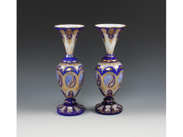 A pair of Bohemian overlaid glass vases Circa 1900.