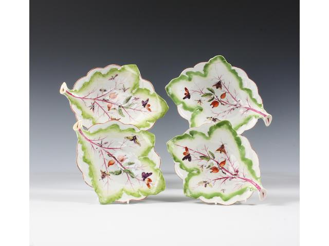 A set of four Derby leaf dishes Circa 1758-60
