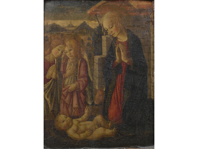 Circle of Bernardo di Stefano Rosselli (Florence 1450-1526) The Madonna and Child with angels with an integral frame
