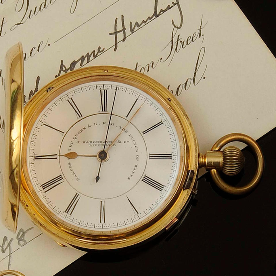 J Hargreaves & Co, Liverpool: An 18ct gold keyless wind hunter chronograph pocket watch