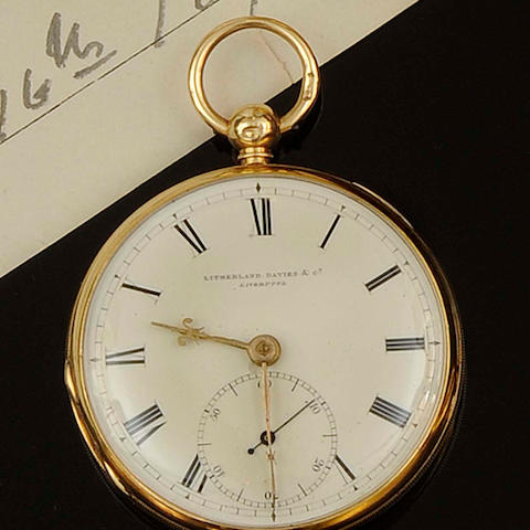 Litherland Davies & Co, Liverpool: An 18ct gold open face pocket watch