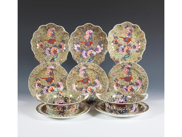 A Spode 'Tumbledown Dick' pattern dessert service Circa 1820-30