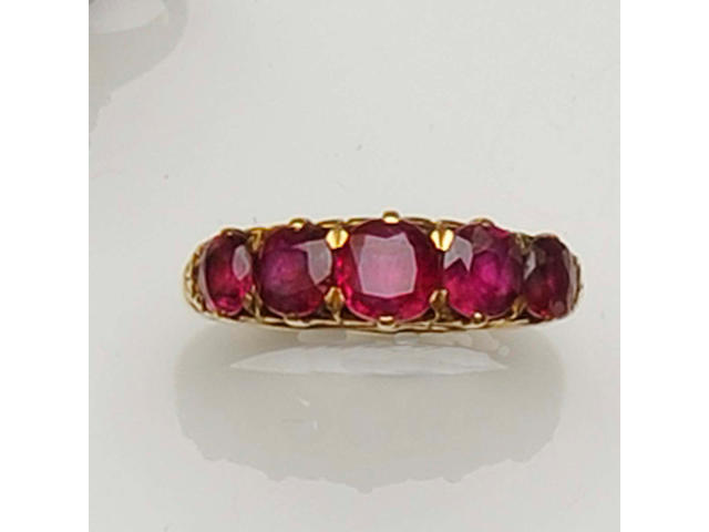 A five stone ruby ring