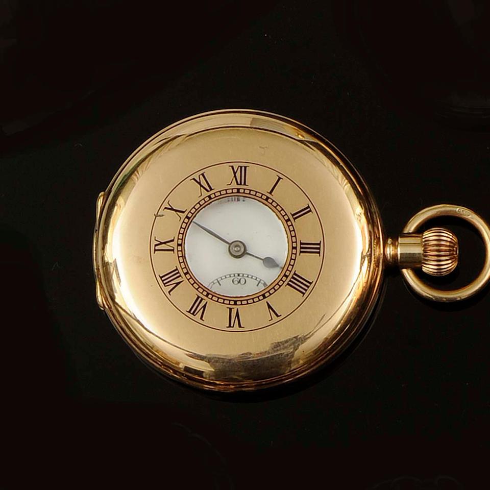J W Benson: A 9ct half hunter pocket watch