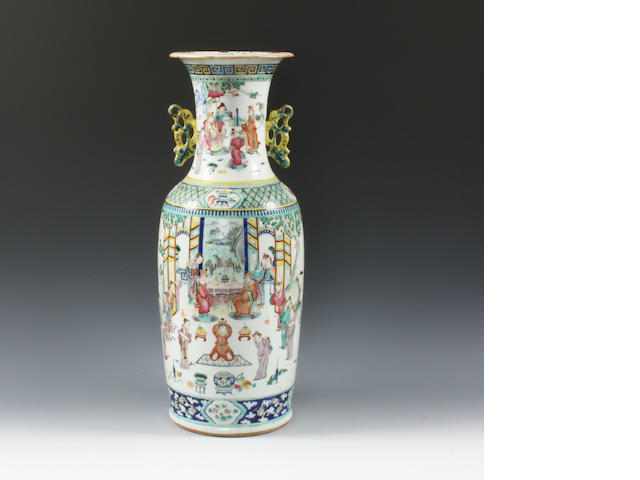 A Chinese export famille rose vase 18th Century.