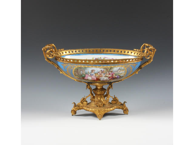 A Sèvres-style gilt-metal mounted centrepiece Late 19th Century.