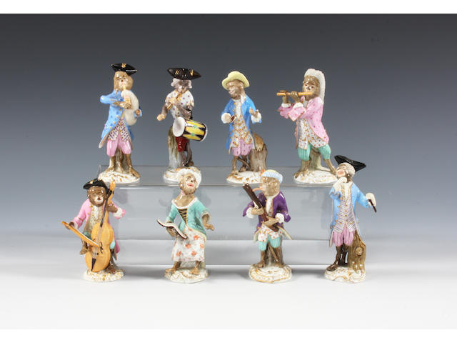 Eight Meissen monkey band figures Mid 19th-20th Century.