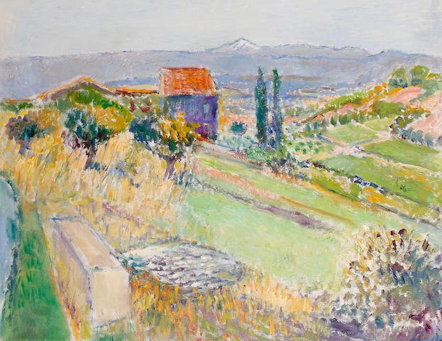 Frederick Gore (British, 1913-2009) Vaucluse landscape, looking towards Mont Ventoux 61 x 76.2 cm. (24 x 30 in.)