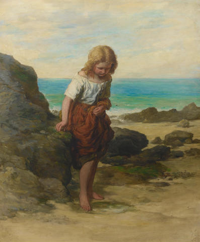 Edward Opie (British, 1810-1894) 'On the seashore - a timid venture'