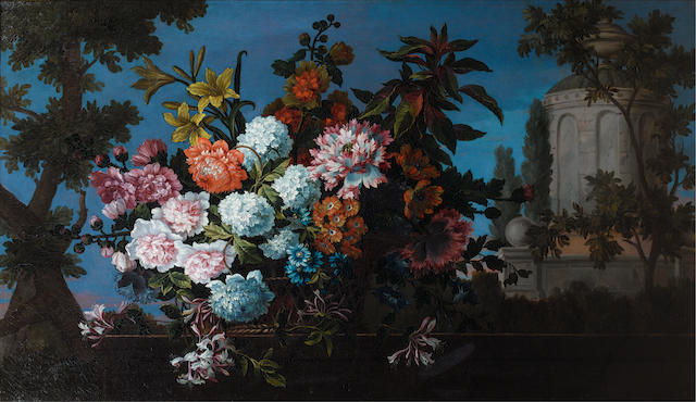 Studio of Jean-Baptiste Monnoyer (Lille 1636-1699 London) Chrysanthemums, lilies, honeysuckle and other flowers in a wicker basket,