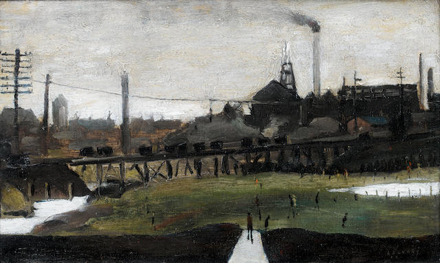 Laurence Stephen Lowry, R.A. (British, 1887-1976) Newtown Pit 25.4 x 40.7 cm. (10 x 16 in.)
